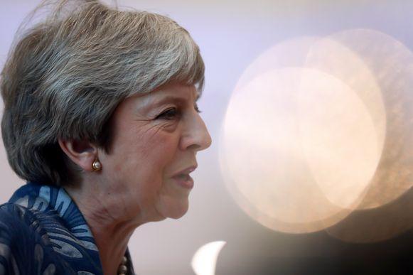 De Britse premier, Theresa May, tijdens de topconferentie van de Europese Unie en de Arabische Liga in Sharm al-Sheikh.