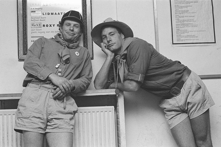 De broers Doorn in 1987 op een avond in het teken van de padvinderij, zonder smoking dus.  Beeld Claude Crommelin
