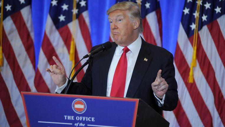 Donald Trump tijdens zijn eerste officiële persconferentie. Beeld Photo News