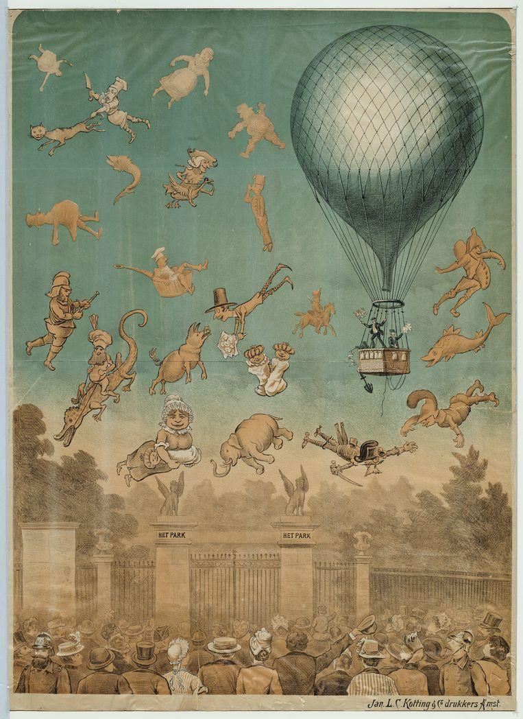 Affiche voor de ballonvaart met luchtacrobatiek in de Parktuin. Beeld Stadsarchief Amsterdam