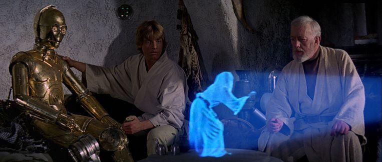 Vroeger in 'Star Wars', binnenkort wellicht realiteit: holografische video's. Beeld rv