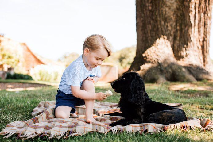 Voor zijn derde verjaardag gaf de familie foto's vrij van George en gezinshond Lupo.