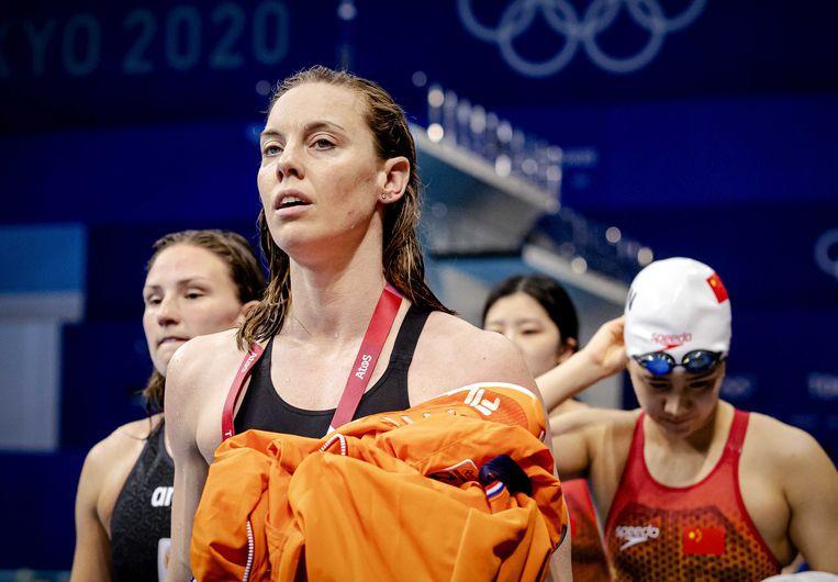 Femke Heemskerk in actie tijdens de 4 x 100 meter estafette zwemmen op de Olympische Spelen. Beeld ANP