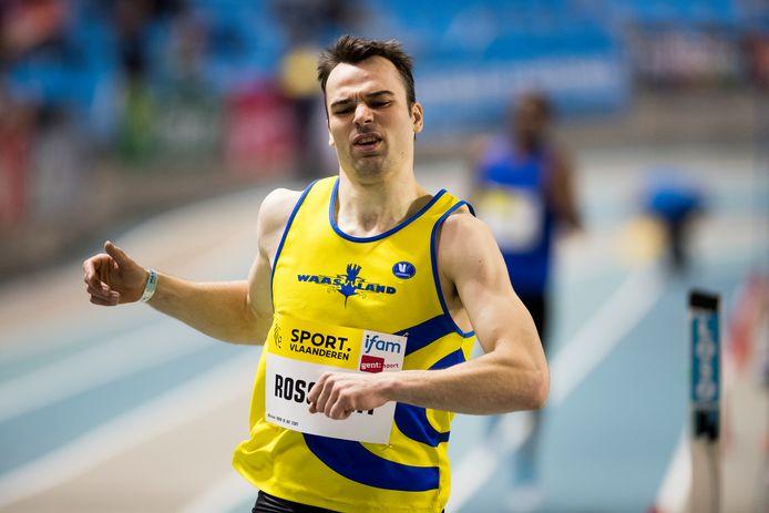 Michael Rossaert op een indoorwedstrijd op 10 februari van 2018, vlak voor hij zijn achillespees afscheurde. Nu is de spurter uit Belsele helemaal terug en klaar om weer te knallen.