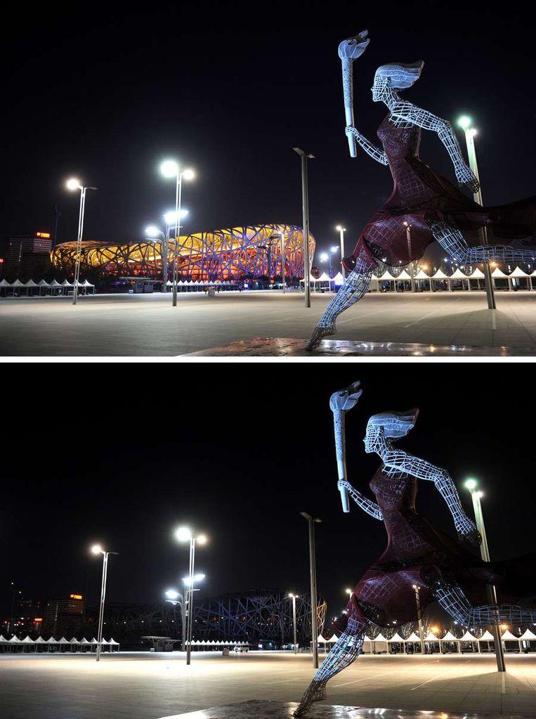 Het Nationale Stadion van Peking, ook wel het Vogelnest. Beeld afp