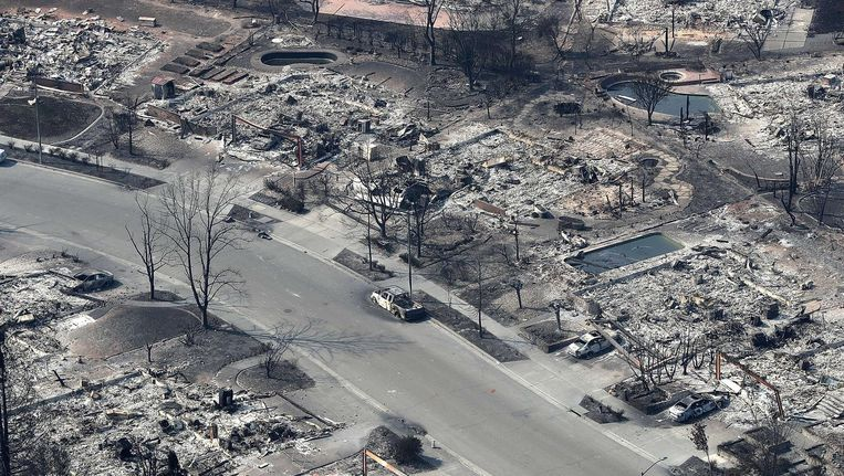 Een uitgebrande buurt in Santa Rosa. Beeld AFP