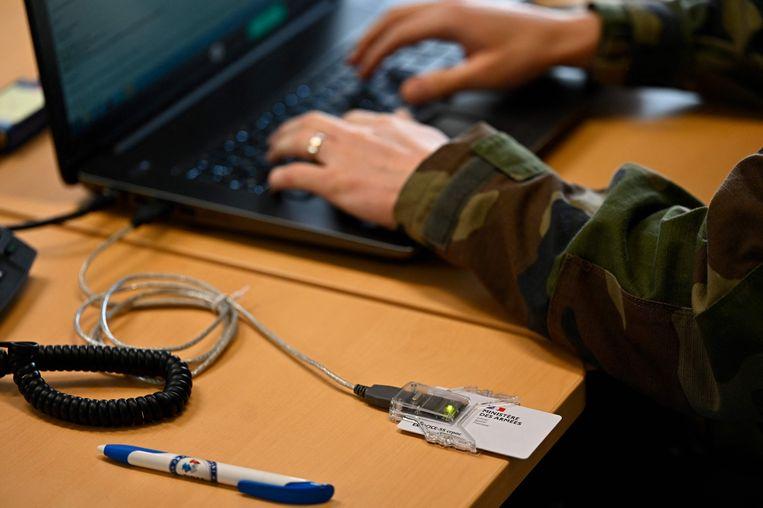 Een oefening in cybersecurity bij het Franse Defensie in maart dit jaar. Beeld AFP