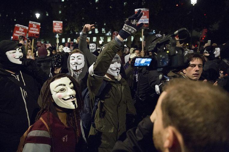 Activisten uiten hun ongenoegen op 10 Downing Street in Londen, Verenigd Koninkrijk. Beeld Ashley Barwick