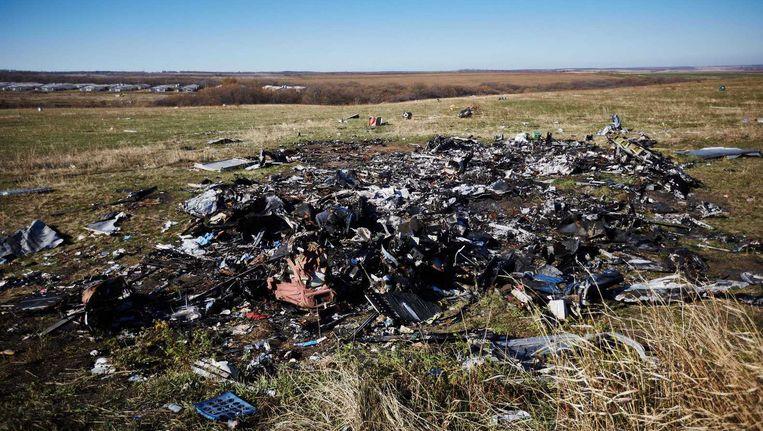 Resten van vlucht MH17 in het oosten van Oekraïne. Beeld anp