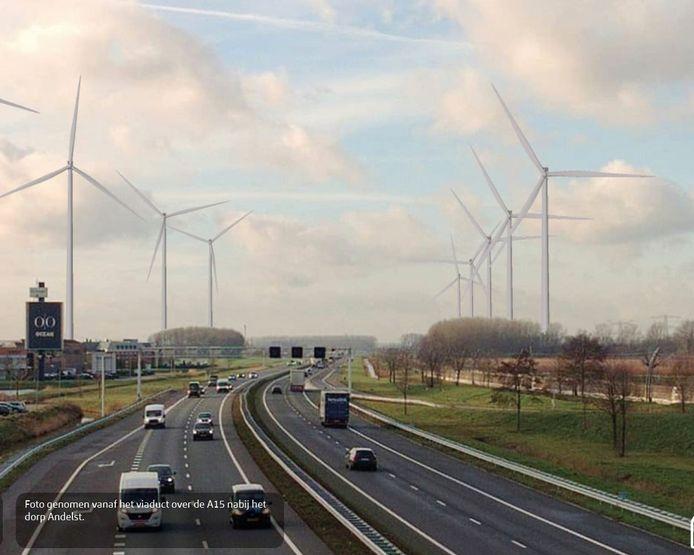 Visualisatie van beoogd windturbinepark langs A15 en Betuweroute, gezien vanaf viaduct Wageningsestraat tussen Andelst en Zetten