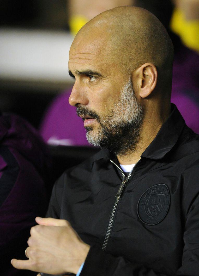 Josep Guardiola, trainer van Manchester City. Beeld null