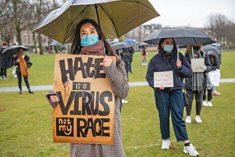 De demonstratie op het Museumplein. Beeld Guus Dubbelman / de Volkskrant