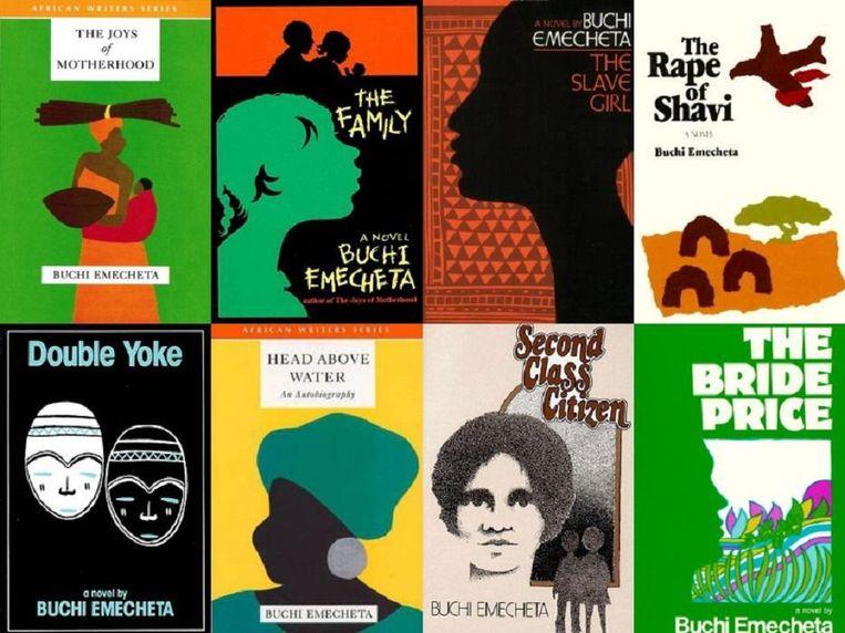 Acht van de twintig boeken die Buchi Emecheta schreef. Beeld Africa Writes