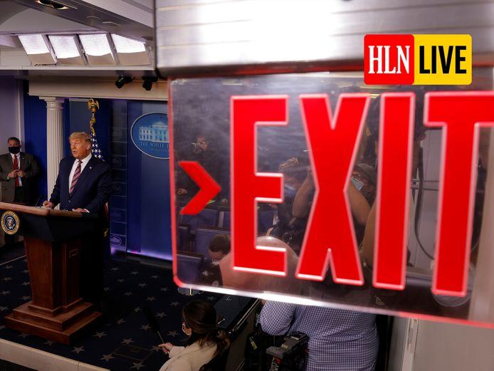 Donald Trump tijdens zijn speech.