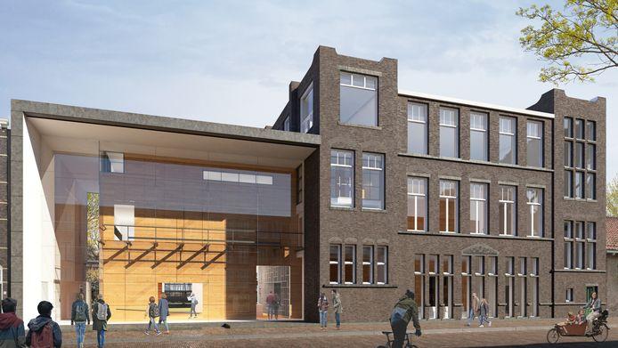 De glazen gevel van het Universiteitsmuseum blijft in het nieuwe ontwerp bewaard. Half september start de verbouwing.