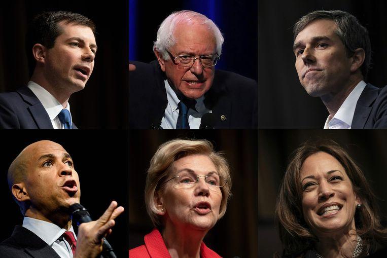Net als in 2016, slaat de progressieve boodschap van Sanders aan bij de Democratische kiezers. De andere kandidaten komen,  op voormalig vicepresident Joe Biden na, niet uit boven de 10 procent in de opiniepeilingen. Biden en Sanders staan gemiddeld op respectievelijk 31 en 21 procent. Beeld AFP