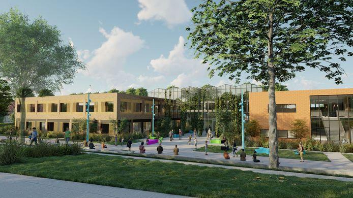 Een impressie van de nieuwe vmbo-gebouwen van het Wellantcollege naast het nieuwe centrale park.