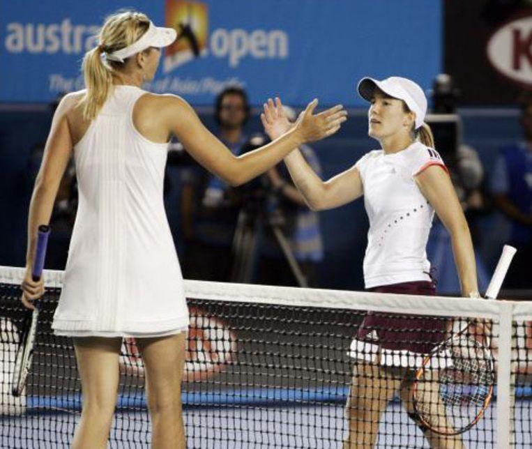 Sharapova tegen Justine Henin.
