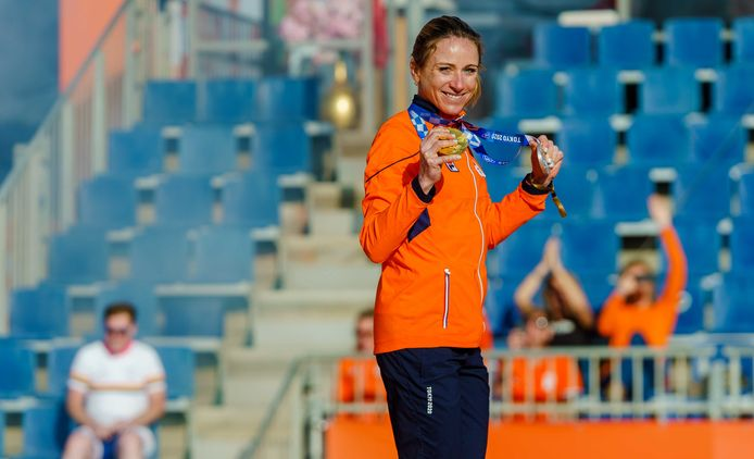 Wielrenster Annemiek van Vleuten tijdens de huldiging bij het Olympic Festival.