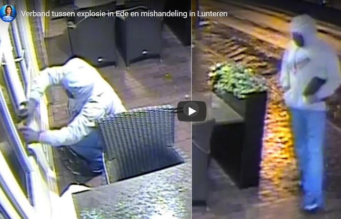 De mannen aan het werk met de vuurwerkbom bij het restaurant aan de Molenstraat in Ede.