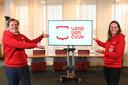 Antoine Walraven en Bouke de Bruin bij de presentatie van het logo van de nieuwe gemeente Land van Cuijk.