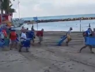 Beelden gaan viraal: elke ochtend sprinten badgasten naar beste plekje op strand van Spaanse Torrevieja