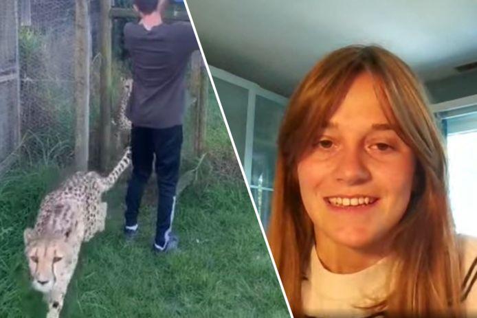 Amandine Lequime werkte als vrijwilliger bij een Zuid-Afrikaans dierenpark, waar ze werd aangevallen door een jachtluipaard.