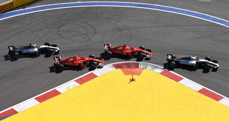Bottas-Vettel-Raikkonen-Hamilton. Beeld AFP
