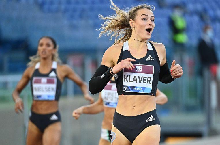 Lieke Klaver na winst in de Diamond League in Rome in september 2020. Beeld AFP