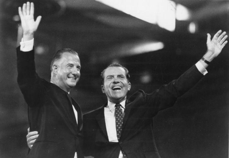 Spiro Agnew werd in 1969 vicepresident onder Richard Nixon, hier samen op de Republikeinse Conventie van 1968. Beeld Getty Images