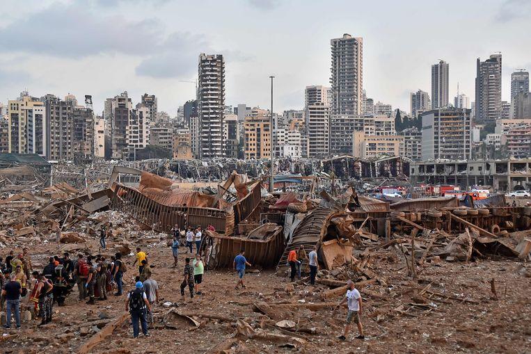 Grote delen van de stad liggen in puin. Beeld AFP