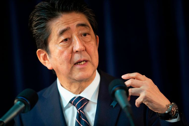 Minister President Shinzo Abe spreekt op een persconferentie tijdens de G7 in Canada. Beeld ANP