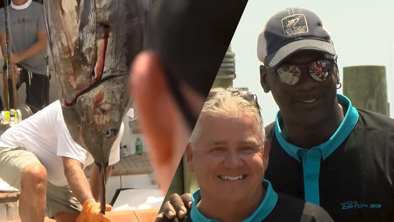 Michael Jordan vangt vis van 200 kg tijdens wedstrijd Beeld KameraOne