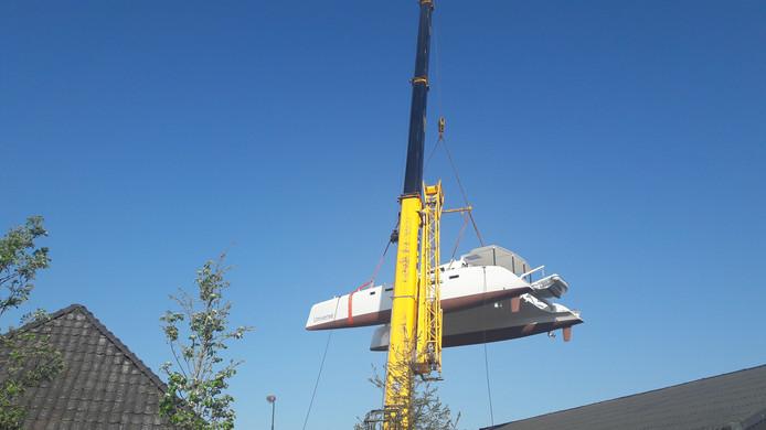 De in Laarbeek gebouwde catamaran