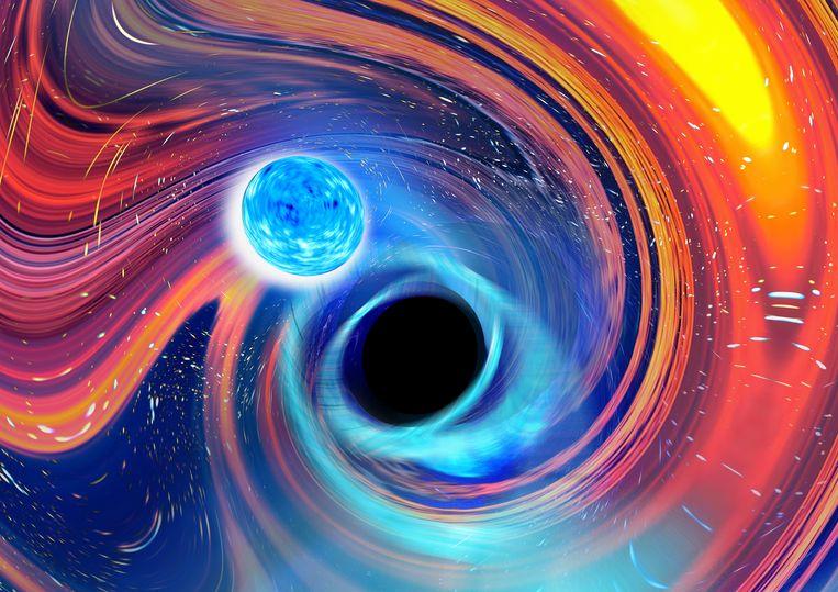 Computertekening van de botsing tussen een neutronenster (links) en een zwart gat (rechts). Het zwarte gat hapt de volledige ster tijdens de botsing in één stuk naar binnen.  Beeld CARL KNOX, OZGRAV - SWINBURNE UNIVERSITY