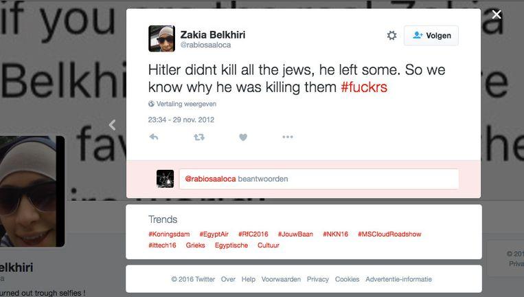 De Nederlandse blog GeenStijl publiceerde donderdag deze tweet uit 2012 van Zakia Belkhiri. De jonge vrouw verklaarde gisteren op Twitter dat het om een gephotoshopte tweet ging.