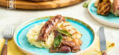 Wat Eten We Vandaag: Barbecue-worst met puree en gestoofde uien