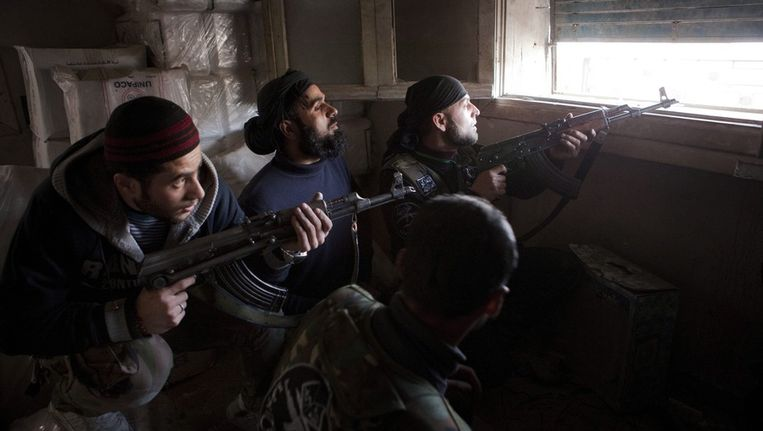Syrische rebellen in Aleppo. Beeld epa