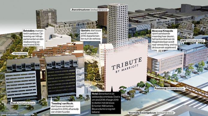 Bebouwing in het Paleiskwartier, met in het midden het Tribute hotel. Hoe dit gebouw er uit komt te zien, is nog niet bekend.