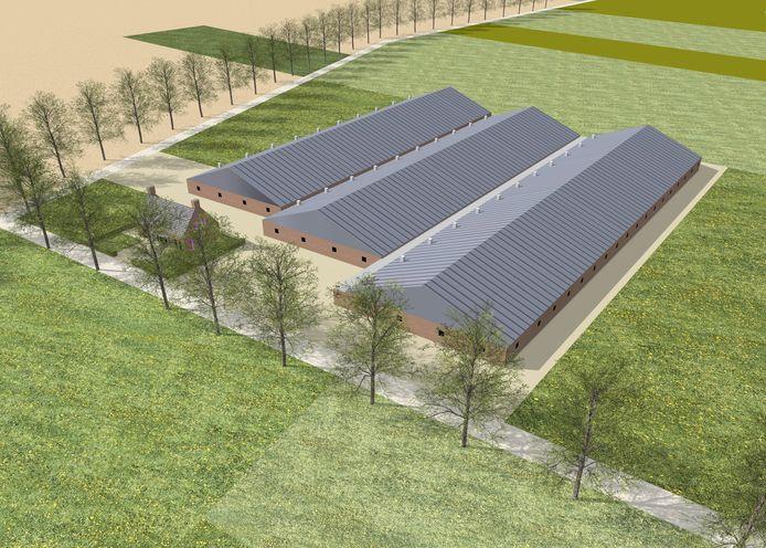 Visualisatie van megastal van Boxtelse ondernemer Johan van Hal, zoals die zal verrrijzen aan de Logtsebaan in Spoordonk.