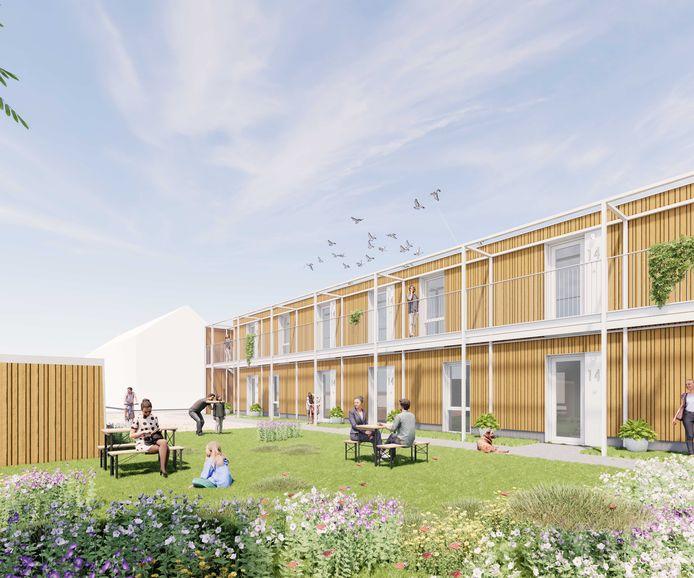 Een artist impression van het plan om aan de Margrietstraat in Millingen te gaan bouwen.