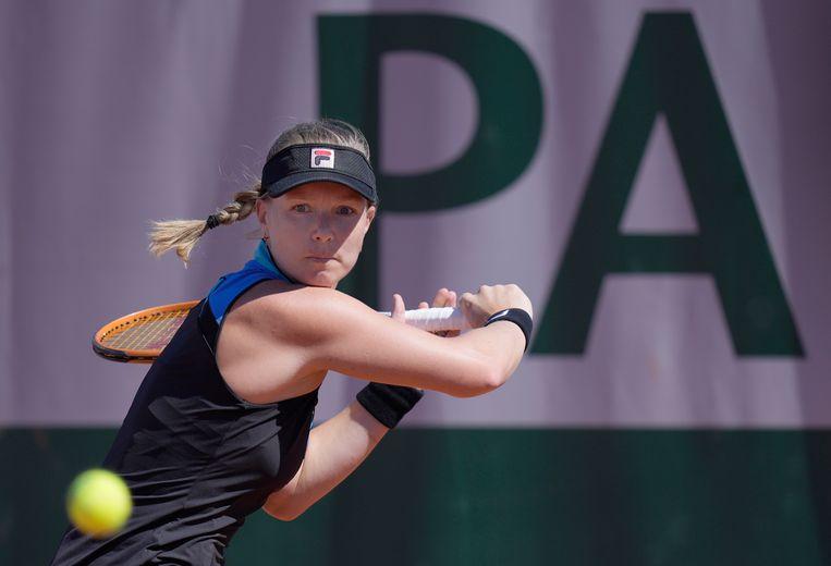 Kiki Bertens vorige maand in actie op haar laatste Roland Garros. Ze verloor in de eerste ronde van Polona Hercog. Beeld AP