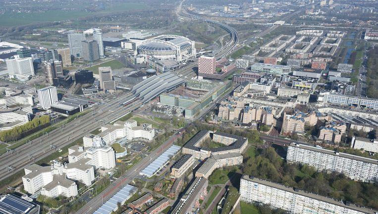 Een luchtfoto van Amsterdam Zuidoost Beeld ANP