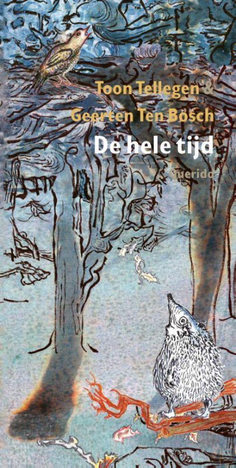 Toon Tellegen, met prenten van Geerten Ten Bosch, De hele tijd, Querido Jeugd, 16,99 euro. Beeld rv