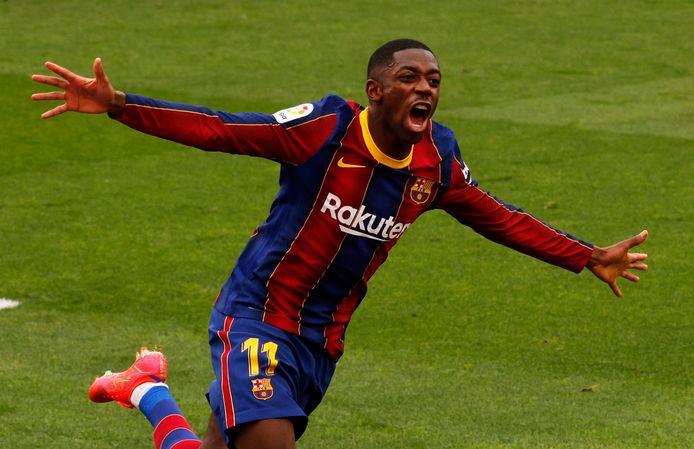 Ousmane Dembélé is blij met zijn doelpunt tegen Sevilla.
