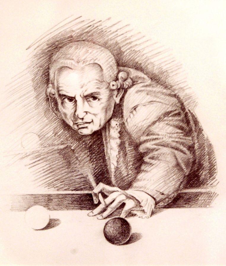 Immanuel Kant speelt biljart, tekenaar onbekend.  Beeld AFP