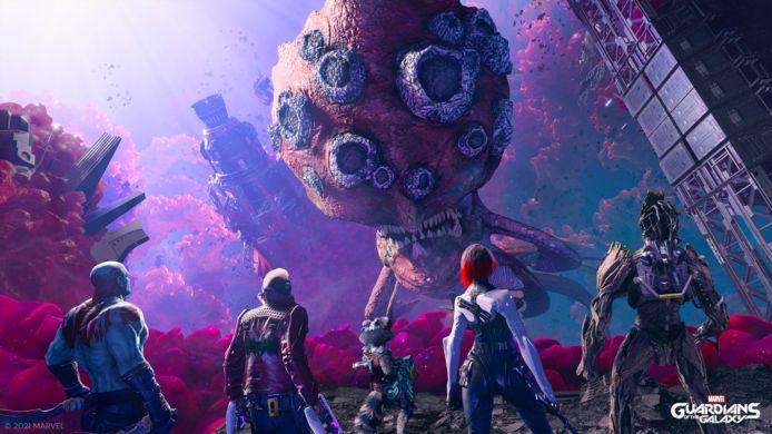 De Guardians komen in de vreemdste decors terecht, waar ze ook de meeste kleurrijke gedrochten tegenkomen.