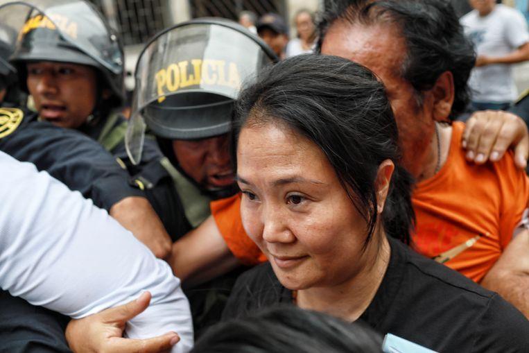 De Peruaanse oppositieleider Keiko Fujimori  afgelopen januari in San Borja, Peru. Beeld EPA