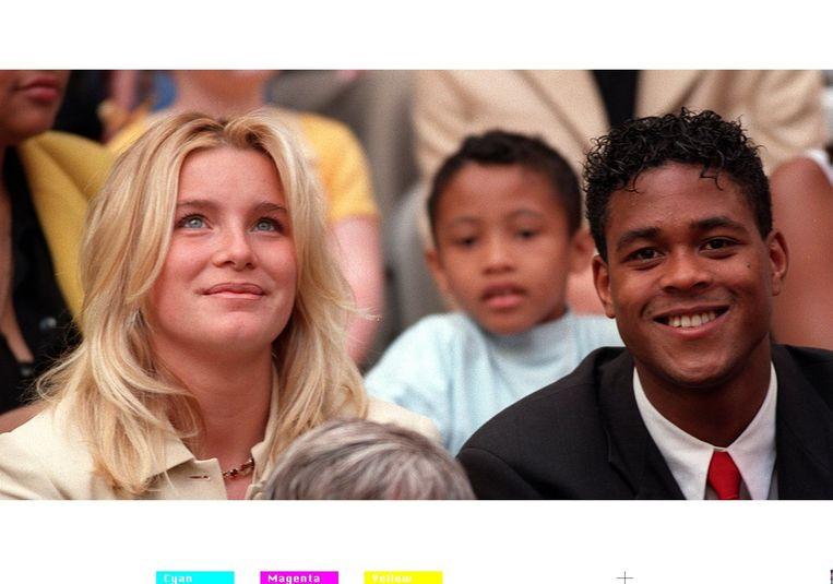 Patrick Kluivert met zijn eerste vrouw, Angela. Met haar heeft hij drie zoons: Quincy, Justin en Ruben. Beeld ANP