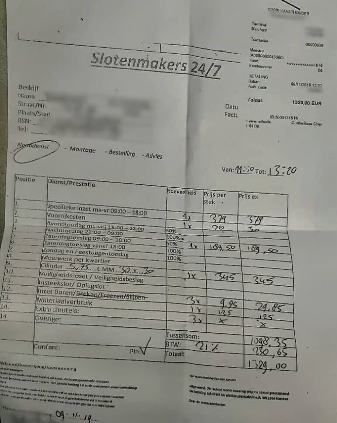 Wel 1329 euro rekende een slotenmaker voor de reparatie van een slot.